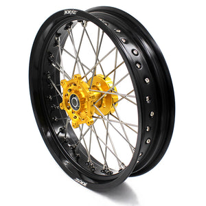 KKE RM125 1996-2007 RM250 1996-2008 3.5/4.25 SUPERMOTO WHEELS RIMS SET FIT SUZUKI GOLD CNC HUB - KKE Racing