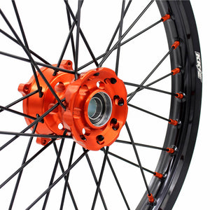 KKE 19/16 BIG KID'S WHEELS RIMS SET FIT KTM85 SX 2003-2018 ORANGE HUB NIPPLE BLACK SPOKE - KKE Racing