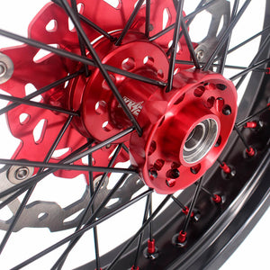 KKE 3.5 & 4.25 Supermoto Wheels for Honda XR650R 2000-2008 Disc Red Nipple