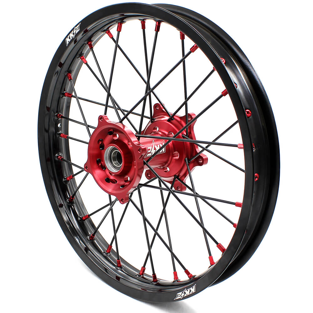 KKE MX/ENDURO WHEELS SET FIT HONDA CR125R CR250R 2000-2013 CRF250R 04-13 CRF450R 02-12 RED NIPPLE BLACK SPOKE