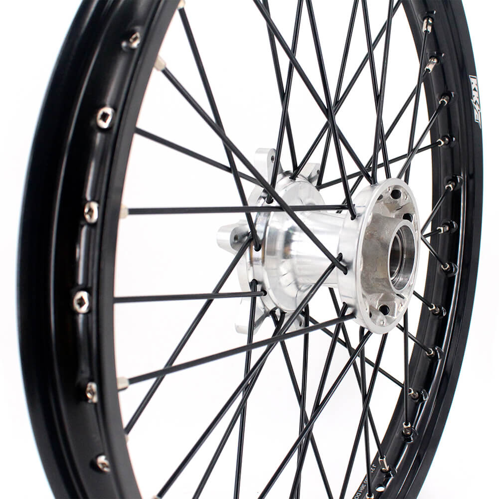 KKE 1.6*21 CASTING FRONT WHEEL RIM FOR KTM SX SXF XC XCW EXC EXCF XCF 125 150 200 250 300 350 450 505 530 03-19 SILVER HUBS BLACK RIMS SPOKE - KKE Racing