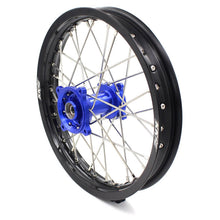 Load image into Gallery viewer, KKE 19/16 KID'S WHEELS RIMS SET FOR KAWASAKI KX80 1993-2000 KX85 2001-2015 BLUE CNC HUBS BLACK ALUMINUM RIMS - KKE Racing