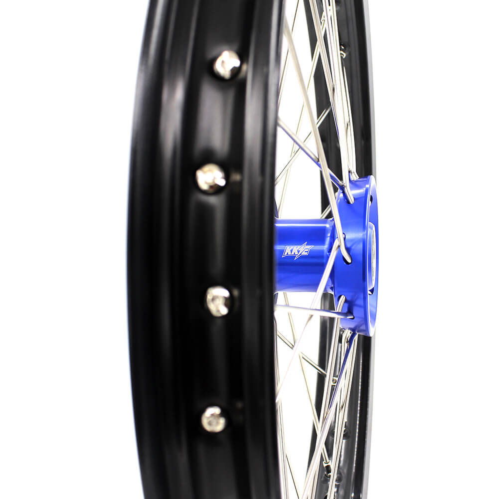 KKE 19/16 BIG KIDS WHEELS RIMS SET FIT YAMAHA YZ80 1990-2001 YZ85 2002-2018 BLUE CNC HUB