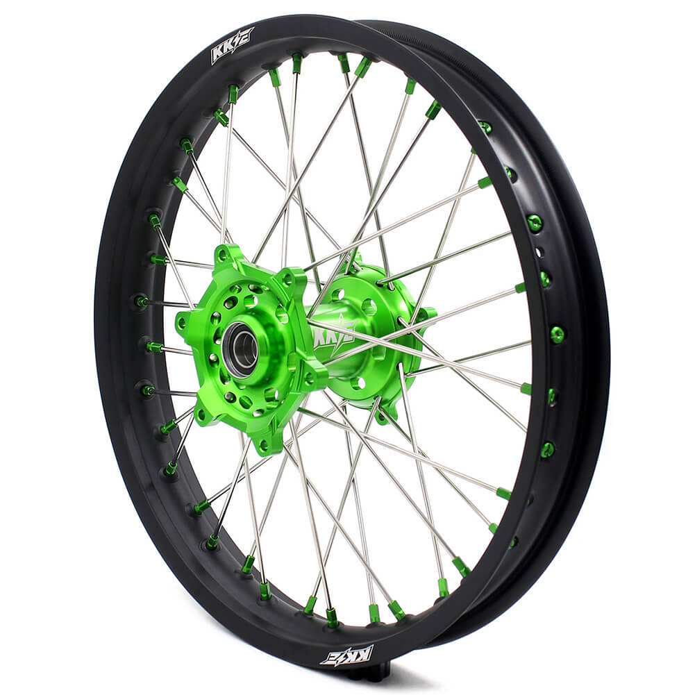 KKE 21/19 MX COMPLETE WHEELS RIMS SET FIT KAWASAKI KX125 KX250 KX250F KX450F DIRTBIKE GREEN CNC HUB & NIPPLE - KKE Racing