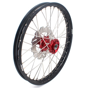 KKE CASTING 21IN. SPOKED FRONT WHEEL RIM FOR KTM SX SXF XCW XCF EXC EXCF 125-530 03-19 SILVER HUB BLACK RIM DISC - KKE Racing