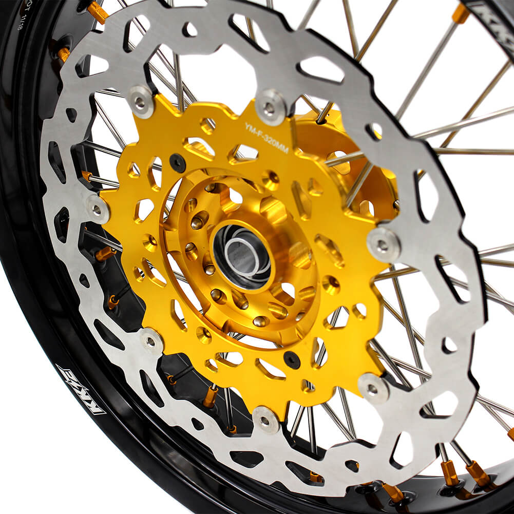 KKE DRZ400 DRZ400S DRZ400E DRZ400SM 3.5/4.25*17 SUPERMOTO WHEELS RIMS SET FIT SUZUKI GOLD CNC HUB & NIPPLE