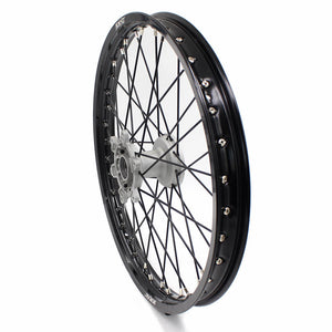 KKE CASTING 21/19 MX WHEELS SET FIT YAMAHA YZ125 YZ250 YZ250F YZ450F SILVER HUB BLACK RIM - KKE Racing