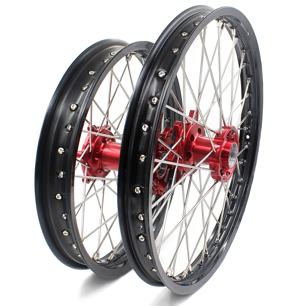 KKE 21/18 SPOKED ENDURO WHEELS RIMS SET FOR BETA RR 2013-2018 RED CNC HUBS BLACK ALUMINUM RIMS - KKE Racing