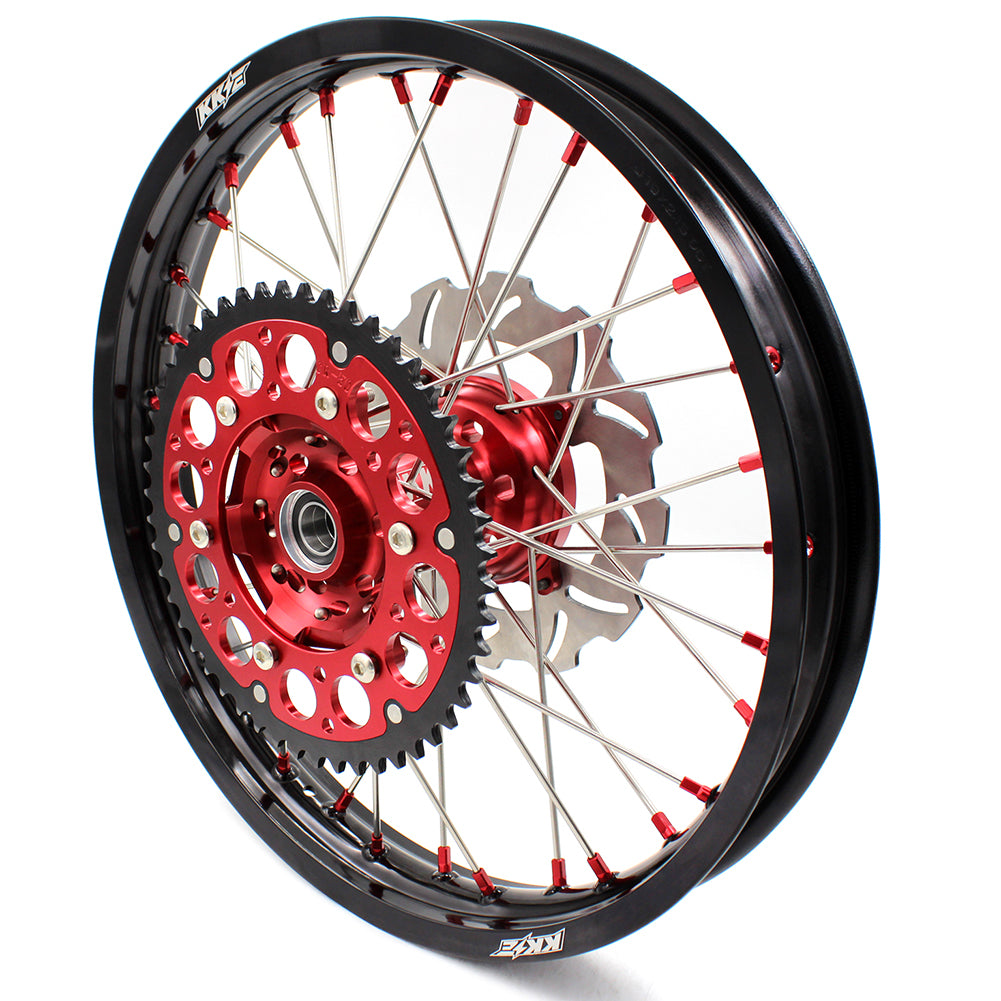 KKE 21/18 ENDURO WHEELS RIMS SET FOR HONDA XR650R 2000-2008 RED ALLOY NIPPLE DISCS - KKE Racing