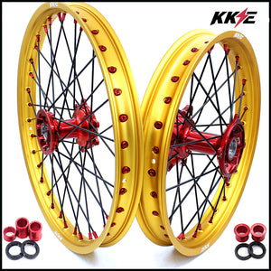 KKE 21 & 19 Casting Dirt Bike Wheels Set for Honda CR125R CR250R 2002-2013 Off Road Gold Rims