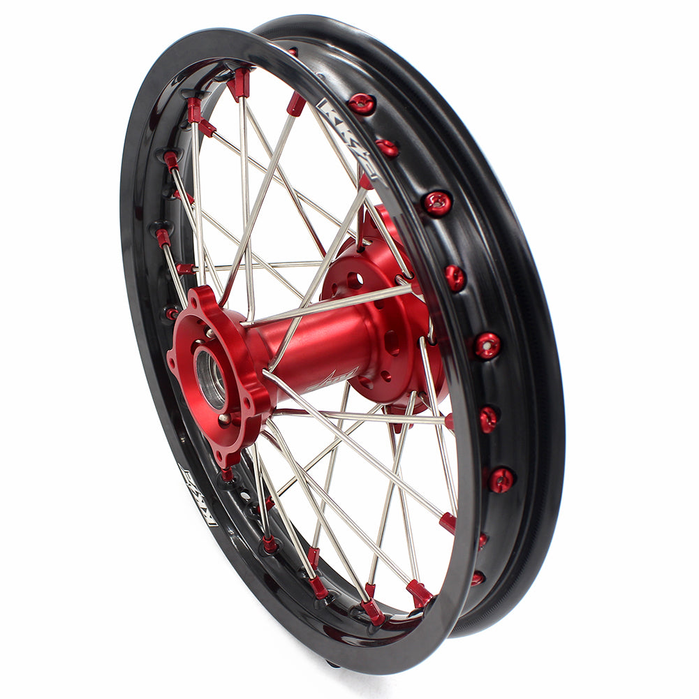 KKE 19/16 SPOKED BIG KID'S WHEELS FOR HONDA CRF150R 2007-2018 RED ALLOY NIPPLE - KKE Racing