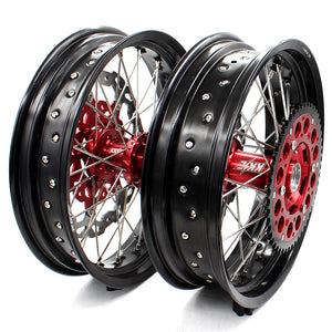 KKE 3.5*16.5 & 5.0*17 Supermoto Wheels Set for Honda CRF250R 2014-2020 CRF450R 2013-2020 Red Hub