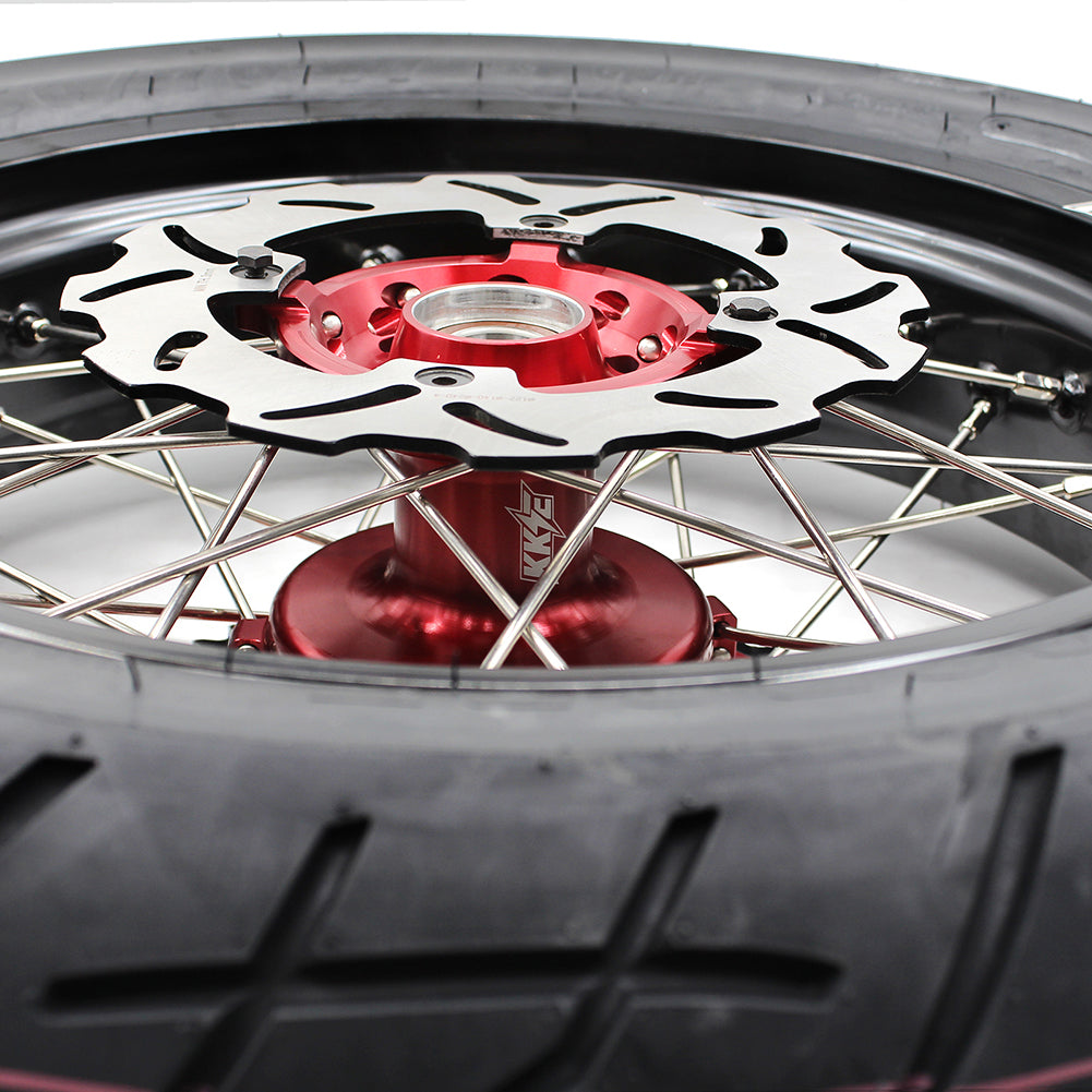 KKE 3.5/4.25 CUSH DRIVE SUPERMOTO CST WHEELS TIRES SET FOR HONDA XR400R 96-04 XR600R 91-00 RED HUB - KKE Racing