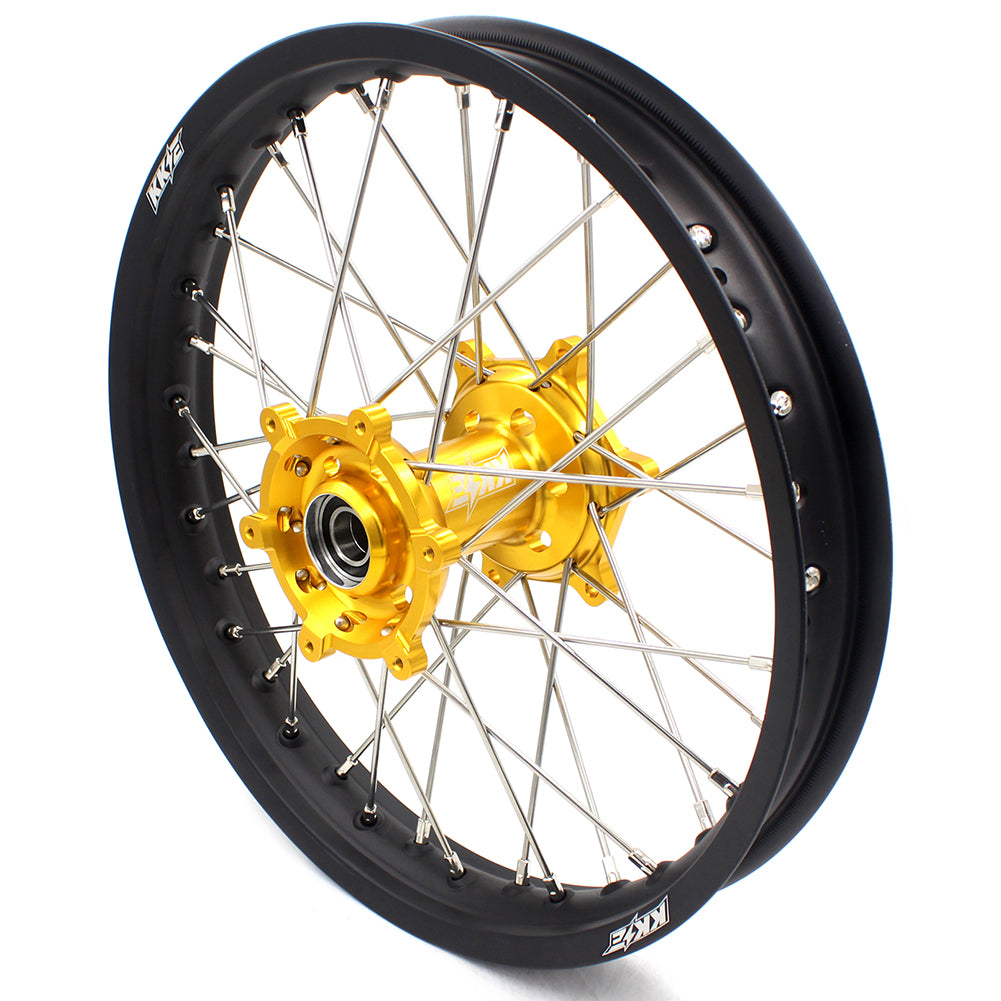 KKE 21 & 19 MX Wheels Set for Suzuki RM125 2001-2007 RM250 2008 Gold CNC