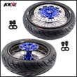 KKE 3.5 & 4.25 Supermoto Rims for Suzuki DRZ400SM 2005-2020 Tires Blue