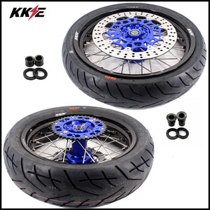 KKE 3.5 & 4.25 Supermoto Motard Wheels Rims for Suzuki DRZ400SM 2005-2018 Tires Blue