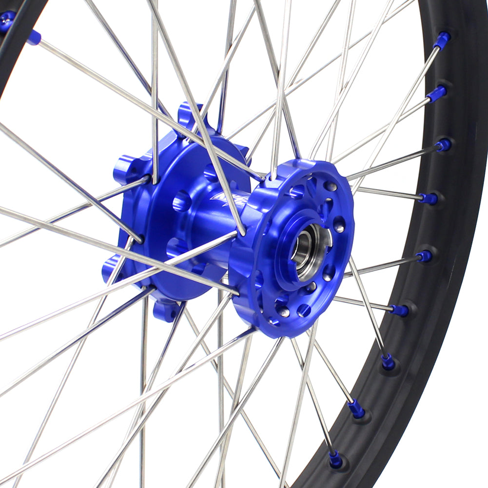 KKE 1.6*21 2.15*18 Enduro Wheels Set for SUZUKI DRZ400 00-04 DRZ400E 00-07 DRZ400S 00-18 Blue Nipple Black Spoke - KKE Racing