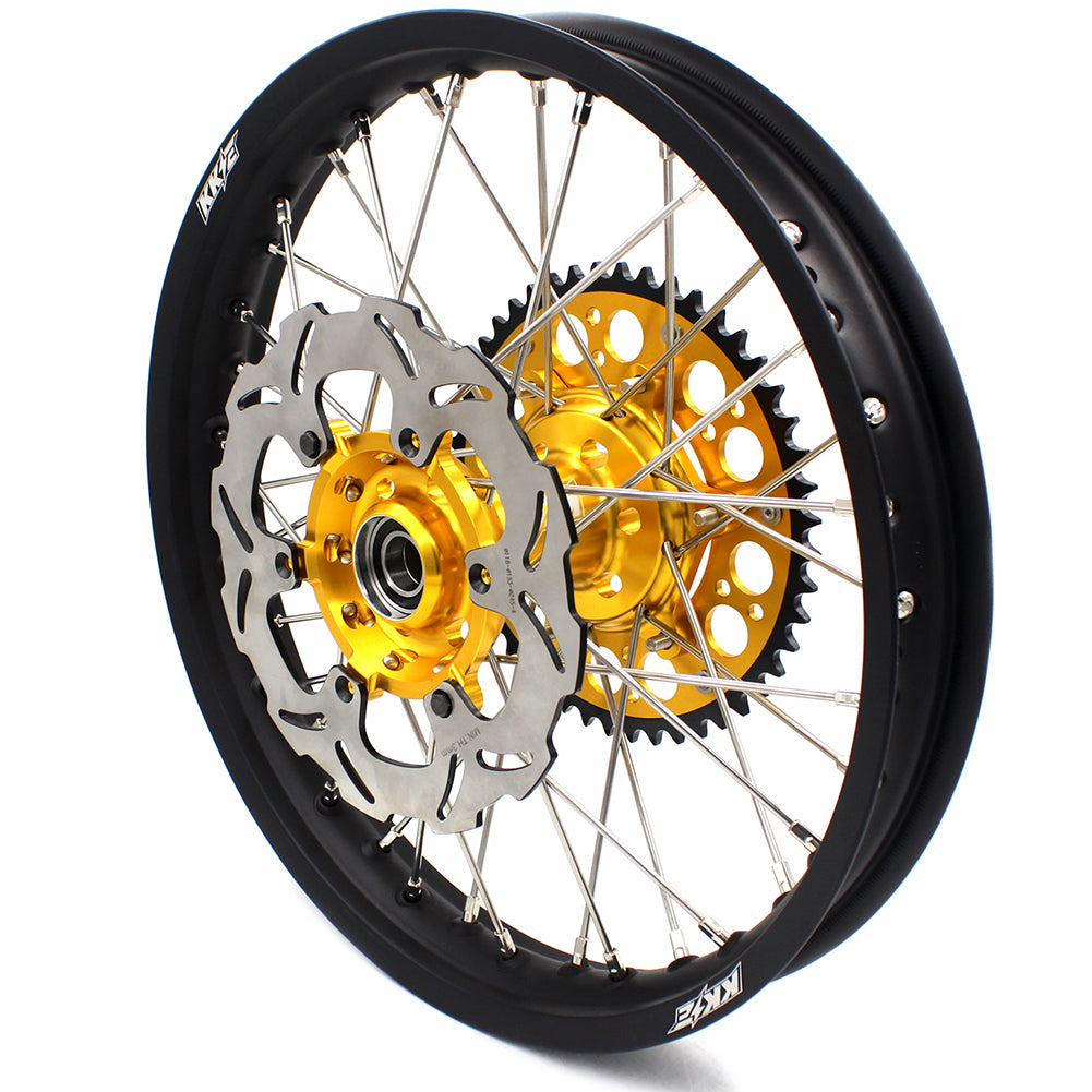 KKE 1.6*21 & 2.15*18 DRZ400SM 05-18 ENDURO WHEELS RIMS SET FOR SUZUKI GOLD CNC HUBS BLACK RIMS - KKE Racing