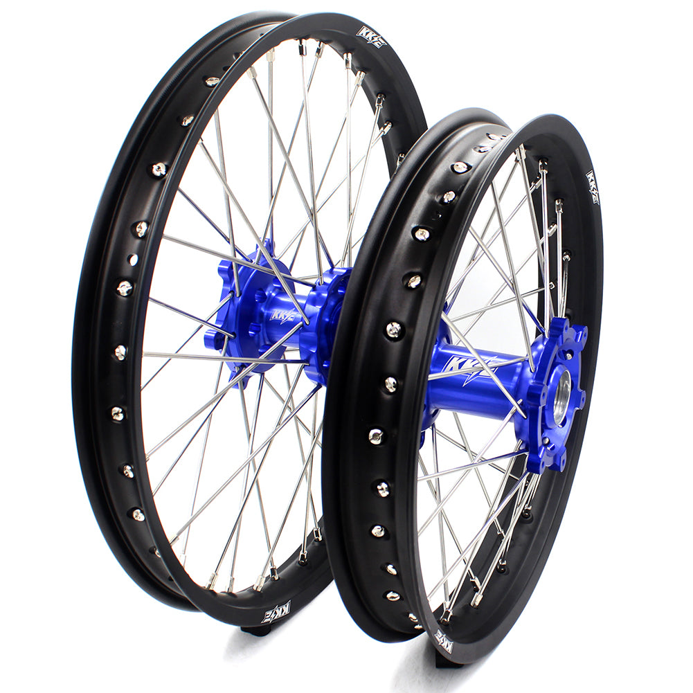 KKE 21 & 18 Spoked Enduro Wheels Set for SUZUKI DRZ400SM 05-18 Blue Hub Off Road Motorcycle Black Rims - KKE Racing