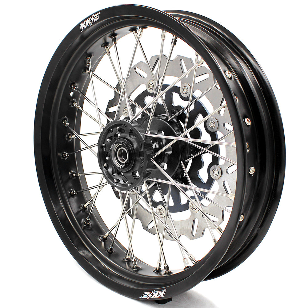 KKE 3.5/4.25 WHEELS SET FOR SUZUKI DRZ400 DRZ400E DRZ400S FRONT BLACK 320MM DISC