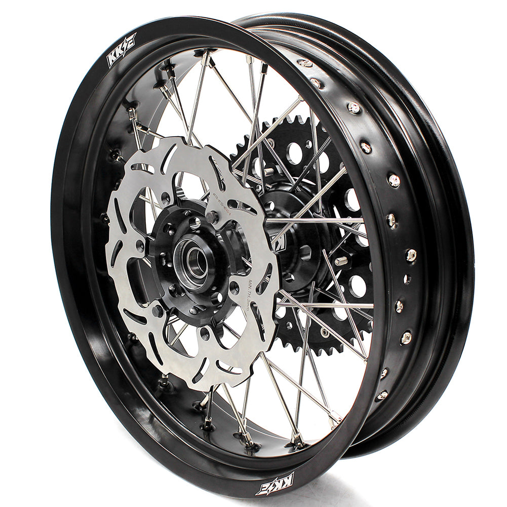 KKE 3.5/4.25 COMPLETE SPOKED SUPERMOTO WHEELS SET FOR SUZUKI DRZ400SM FRONT 310MM OVERSIZE DISC