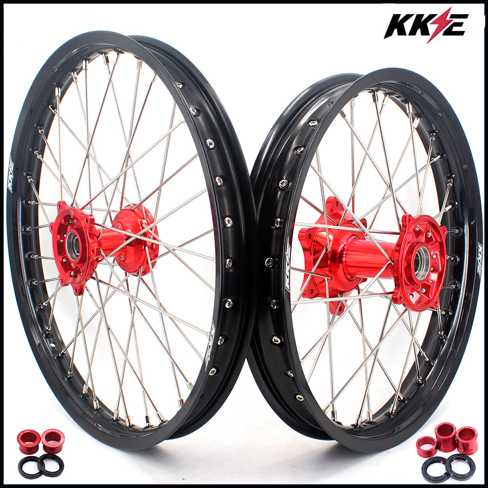 KKE 21 & 18 Casting Enduro Wheels Rims Set for Honda CR125R CR250R 2000-2013 Red Painted Hubs