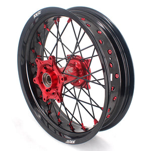KKE Supermoto Wheels for HONDA CRF250R 04-13 CRF450R 02-12 Black Spoke