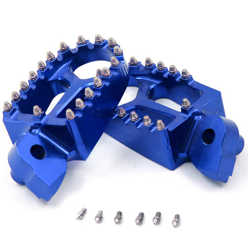 KKE BLUE BLACK SILVER BILLET CNC FOOTPEGS FOR YAMAHA YZ85 YZ125 YZ250 YZ426F YZ450F WR250F WR450F - KKE Racing