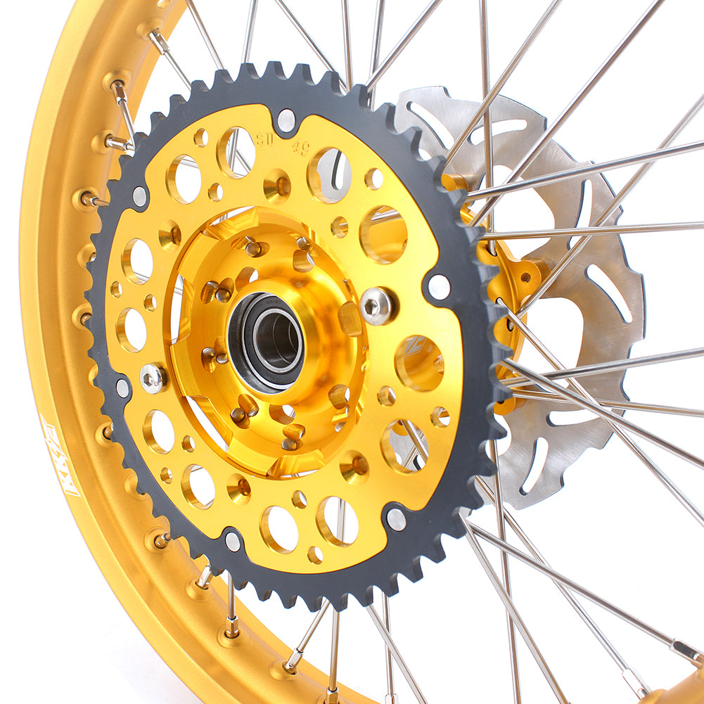 KKE 21 & 19 MX Wheels Gold Rims Set for Suzuki RM125 2001-2007 RM250 2001-2008 Gold Hub Rims