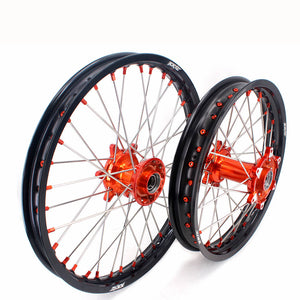 KKE 21 & 18 Casting Enduro Wheels for KTM EXC EXC-F EXC-E 2003-2020 Orange Nipple