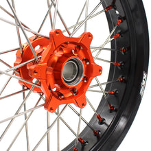 Load image into Gallery viewer, KKE 3.5 & 5.0 Cush Drive Supermoto Wheels Rims for KTM SMC 690 2007-2011 Enduro R 690 2008-2019 Orange Nipple