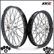 KKE 21 & 18 Cast Hub Billet Wheels fit EXC XCW XCF-W EXC-F 2003-2021 Silver