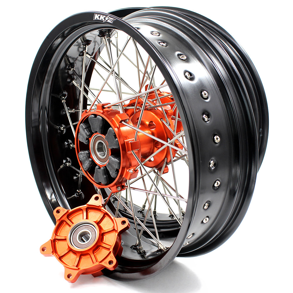KKE 3.5 & 4.25 Cush Drive Wheels Set for KTM 690 Enduro R 2008-2019 SMC 2007-2011 Orange Hub - KKE Racing
