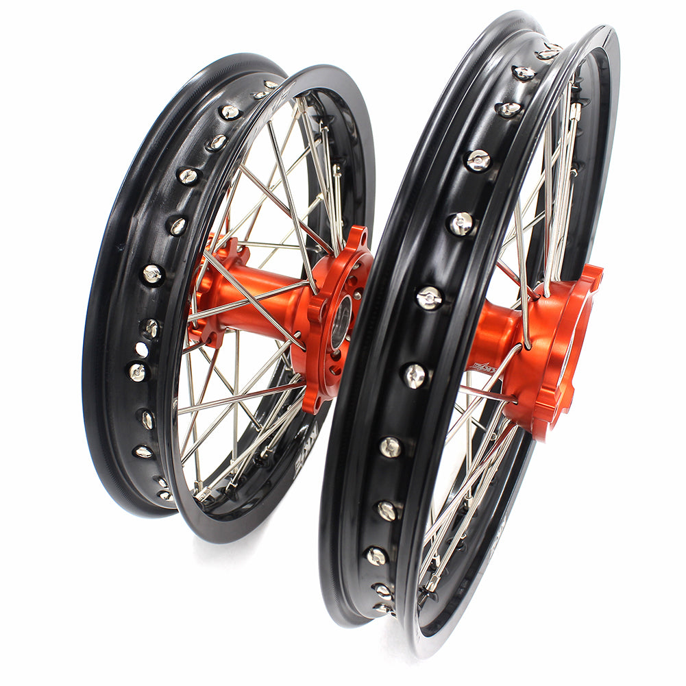 KKE 1.4*14 1.6*12 SPOKED KID'S WHEELS RIMS SET FOR KTM 50 SX 2014-2016 ORANGE CNC HUBS BLACK RIMS - KKE Racing