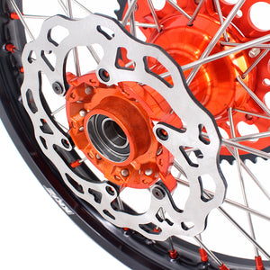 KKE 21 & 19 Cast Wheels for KTM SX SX-F XC XC-F 125-530 2003-2021 Orange