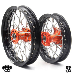KKE 1.6*12/1.6*10 KID'S SMALL WHEELS RIMS SET FIT KTM50 SX 2000-2013 MINI BIKE CNC ORANGE HUB