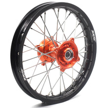 Load image into Gallery viewer, KKE 19/16 BIG KID'S WHEELS SET FOR KTM 85 SX 2003-2018 ORANGE CNC HUB BLACK ALUMINUM RIMS - KKE Racing