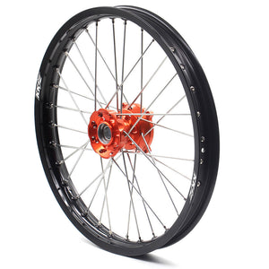 KKE 19/16 BIG KID'S WHEELS SET FOR KTM 85 SX 2003-2018 ORANGE CNC HUB BLACK ALUMINUM RIMS - KKE Racing