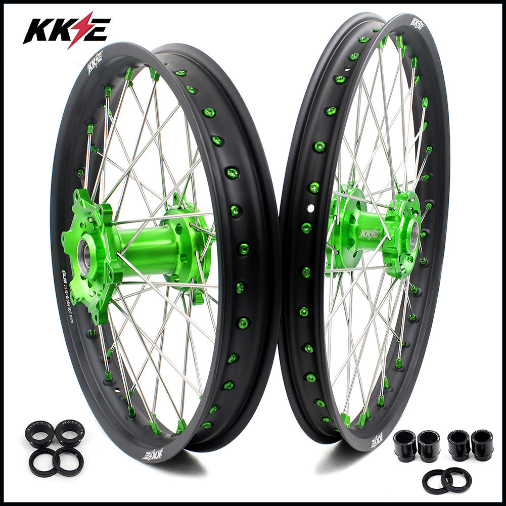 KKE 21/19 MX 21/18 ENDURO WHEELS RIMS SET FIT KAWASAKI KX125 KX250 KX250F KX450F COMPLETE DIRTBIKE GREEN CNC - KKE Racing