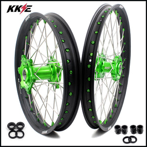 KKE 21 & 19 MX Wheels Set for Kawasaki KX125 KX250 KX250F KX450F Green Nipple