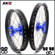 KKE 21 & 18 Enduro Wheels for Kawasaki KX450F 2019-2021 Blue Hubs Black Rims