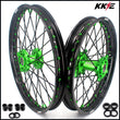 KKE 21/19 MX Rims Set for KAWASAKI KX125 KX250 KX250F KX450F Green Spoke