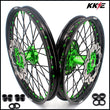 KKE 21 19 MX Wheels Rims for Kawasaki KX125 KX250 1993-2002 Green Black