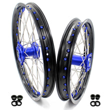 Load image into Gallery viewer, KKE 19/16 BIG SPOKED WHEELS RIMS SET FOR KAWASAKI KX80 1993-2000 KX85 2001-2015 BLUE NIPPLE BLACK SPOKE - KKE Racing