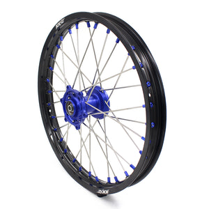 KKE 19/16 BIG SPOKED WHEELS RIMS SET FOR KAWASAKI KX80 1993-2000 KX85 2001-2015 BLUE NIPPLE BLACK SPOKE - KKE Racing