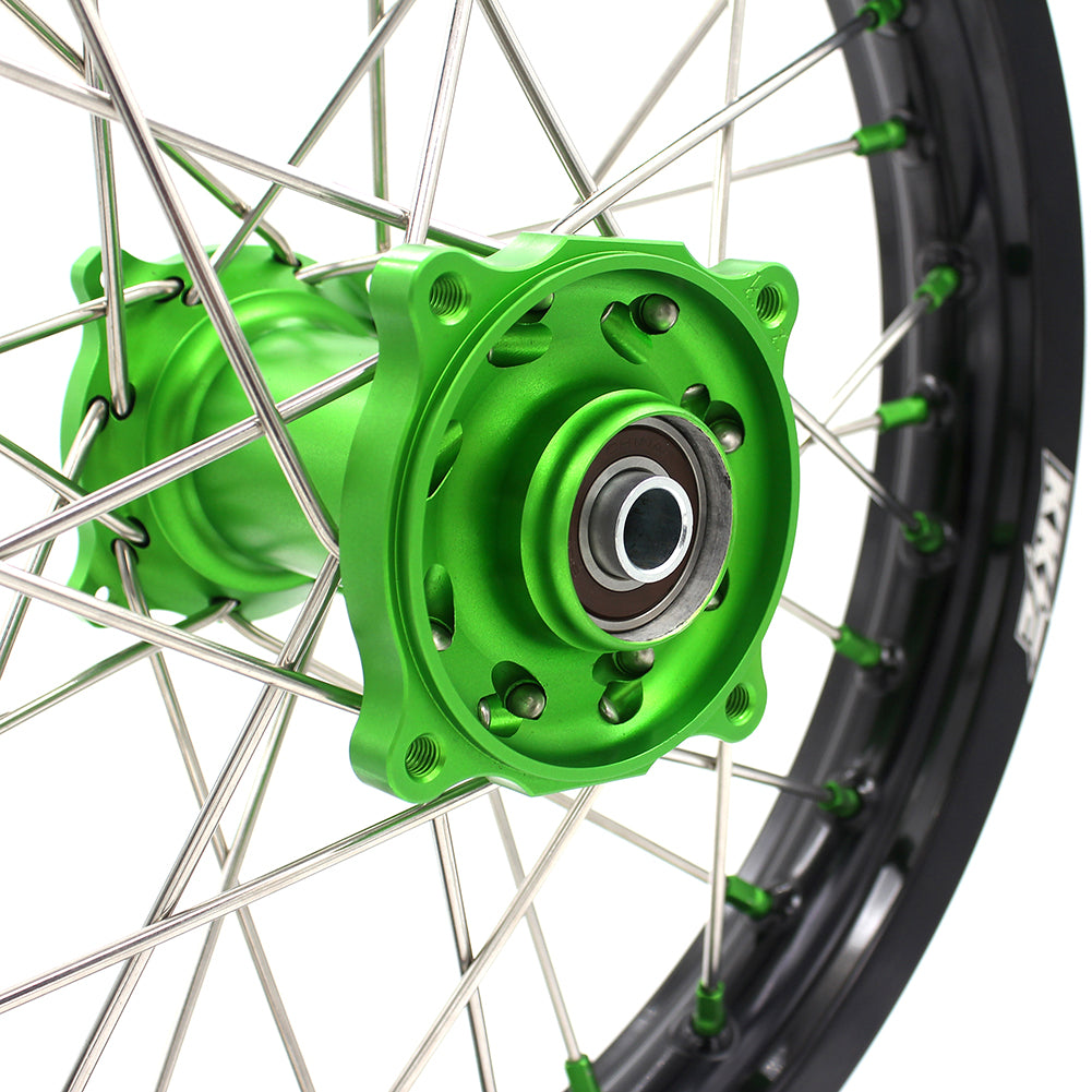 KKE 19 & 16 Big Spoked Kid's Wheels Set for KAWASAKI KX85 2001-2020 KX80 1993-2000 Green Nipple Silver Spoke