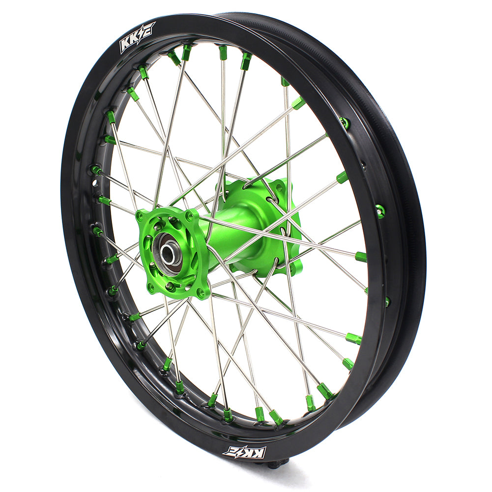 KKE 19 & 16 Big Spoked Kid's Wheels Set for KAWASAKI KX85 2001-2015 KX80 1993-2000 Green Nipple Silver Spoke