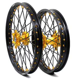 KKE 21 & 19 MX Wheels for SUZUKI RM125 2001-2007 RM250 2008 Gold Black