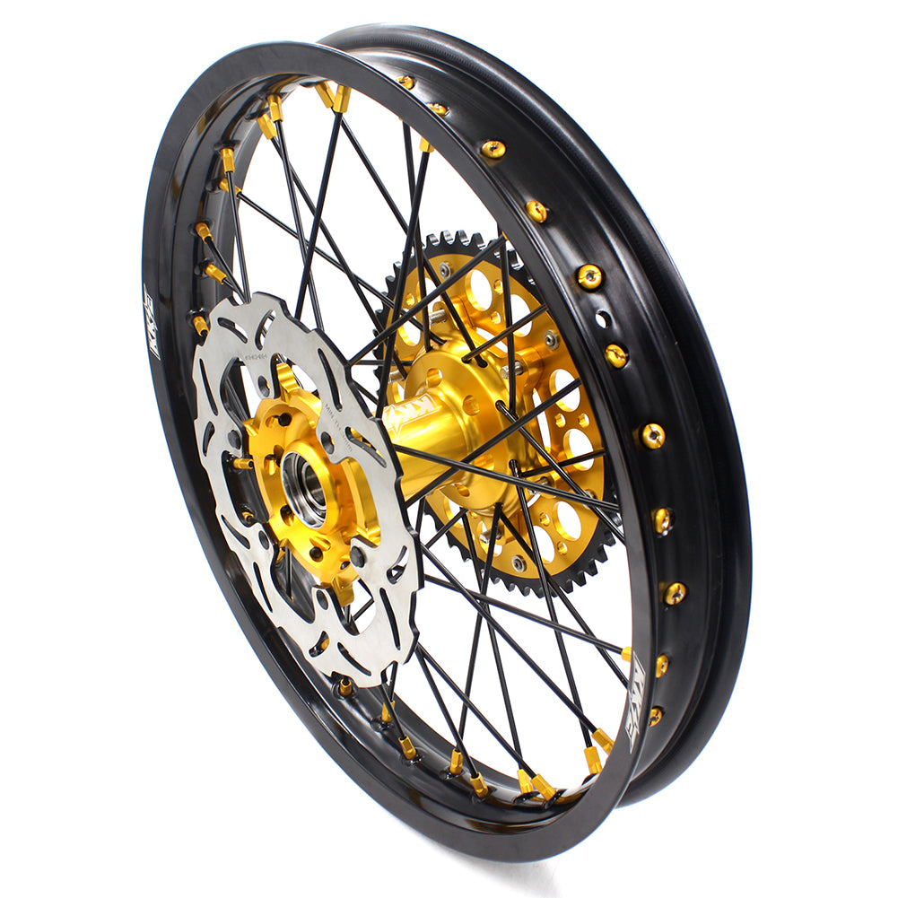 KKE 21 & 18 OFF ROAD ENDURO WHEELS RIMS SET FOR SUZUKI DRZ400 00-04 DRZ400E 00-07 DRZ400S 00-18 GOLD NIPPLE BLACK SPOKE - KKE Racing