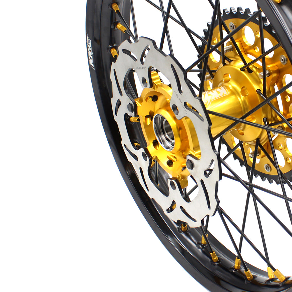 KKE 21 18 SPOKED ENDURO WHEELS RIMS SET FOR SUZUKI DRZ400SM 2005-2018 GOLD NIPPLE BLACK SPOKE - KKE Racing